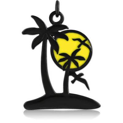 BLACK PVD COATED BRASS CHARM WITH ENAMEL - ISLAND AND SUN