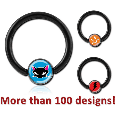 BLACK PVD COATED SURGICAL STEEL PICTURE BALL CLOSURE RING