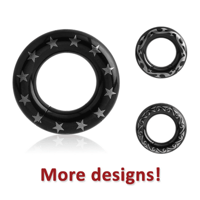 BLACK PVD COATED SURGICAL STEEL SEGMENT RING