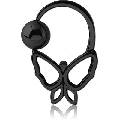 BLACK PVD COATED SURGICAL STEEL BUTTERFLY SIDE BALL CLOSURE RING