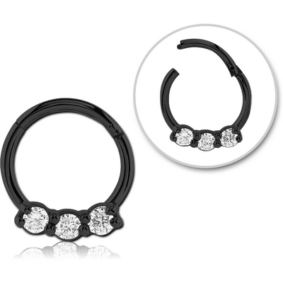 BLACK PVD COATED SURGICAL STEEL ROUND JEWELLED HINGED SEPTUM RING