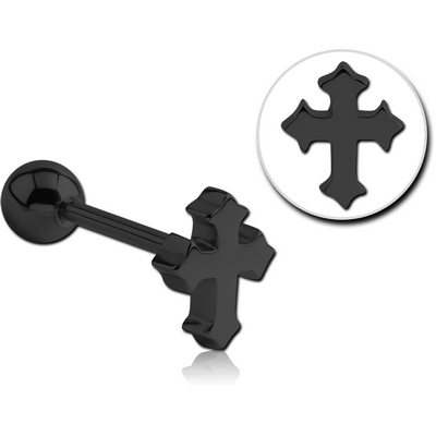 BLACK PVD COATED SURGICAL STEEL BARBELL - CROSS