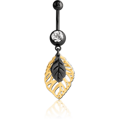 BLACK PVD COATED SURGICAL STEEL JEWELLED NAVEL BANANA WITH DANGLING GOLD PLATED CHARM - TWO LEAFS