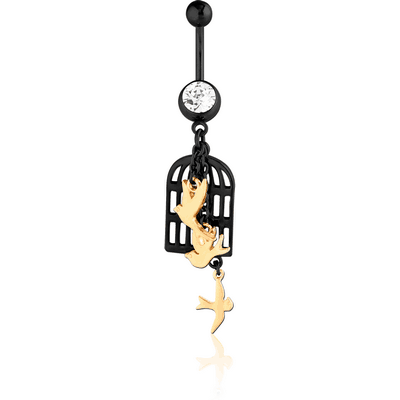 SURGICAL STEEL JEWELLED NAVEL BANANA WITH DANGLING BLACK PVD COATED CHARM - BIRDS AND CAGE