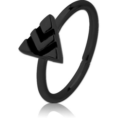 BLACK PVD COATED SURGICAL STEEL SEAMLESS RING - TRIANGLE