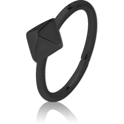 BLACK PVD COATED SURGICAL STEEL SEAMLESS RING - PYRAMID