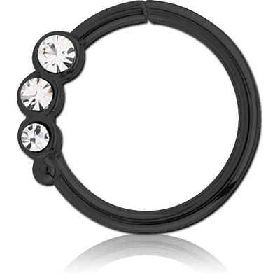 BLACK PVD COATED SURGICAL STEEL JEWELLED SEAMLESS RING - RIGHT - TRIPLE GEM