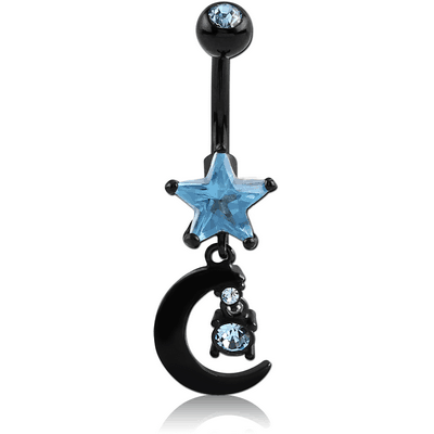 BLACK PVD COATED DOUBLE JEWELLED STAR FASHION NAVEL BANANA WITH MOON CHARM