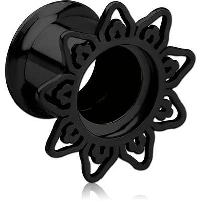 BLACK PVD COATED STAINLESS STEEL DOUBLE FLARED INTERNALLY THREADED TUNNEL - FILIGREE