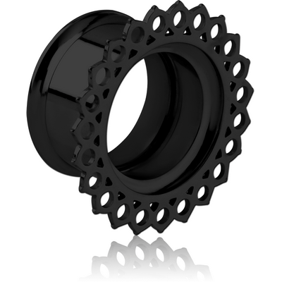 BLACK PVD COATED STAINLESS STEEL DOUBLE FLARED INTERNALLY THREADED TUNNEL