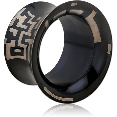 BLACK PVD COATED SURGICAL STEEL LASER ETCHED FLARED TUNNEL