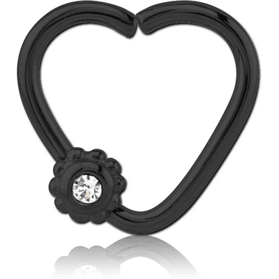 BLACK PVD COATED SURGICAL STEEL OPEN HEART SEAMLESS RING