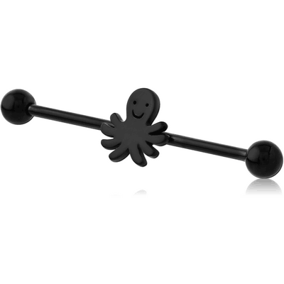 BLACK PVD COATED SURGICAL STEEL INDUSTRIAL BARBELL - SQUID