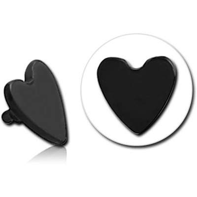 BLACK PVD COATED SURGICAL STEEL HEART FOR 1.2MM INTERNALLY THREADED PINS