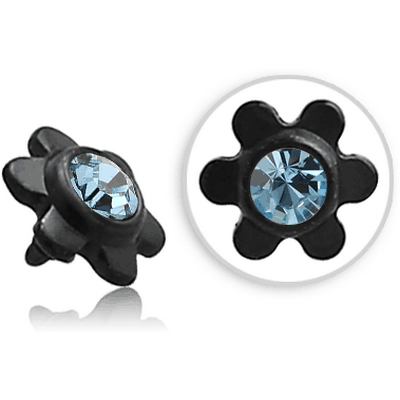 BLACK PVD COATED SURGICAL STEEL SWAROVSKI CRYSTAL JEWELLED FLOWER FOR 1.2MM INTERNALLY THREADED PINS