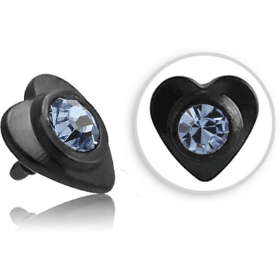 BLACK PVD COATED SURGICAL STEEL SWAROVSKI CRYSTAL JEWELLED HEART FOR 1.2MM INTERNALLY THREADED PINS