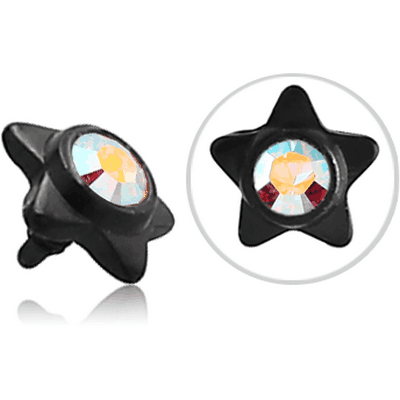 BLACK PVD COATED SURGICAL STEEL SWAROVSKI CRYSTAL JEWELLED STAR FOR 1.2MM INTERNALLY THREADED PINS
