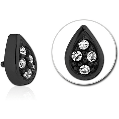 BLACK PVD COATED SURGICAL STEEL JEWELLED PEAR DROP FOR 1.2MM INTERNALLY THREADED PINS