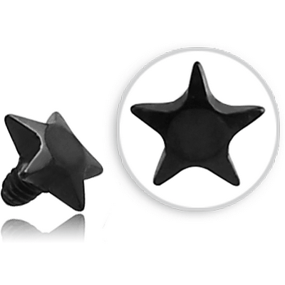 BLACK PVD COATED SURGICAL STEEL STAR FOR 1.6MM INTERNALLY THREADED PINS