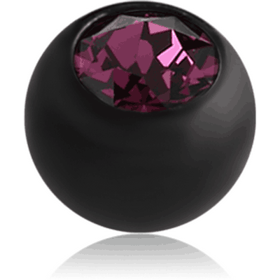BLACK PVD COATED SURGICAL STEEL OPTIMA CRYSTAL JEWELLED BALL