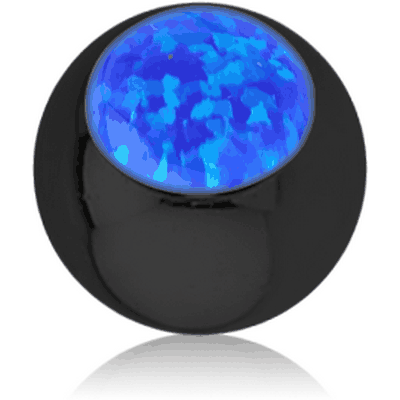 BLACK PVD COATED SURGICAL STEEL JEWELLED BALL WITH SYNTHETIC OPAL