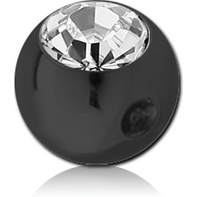BLACK PVD COATED SURGICAL STEEL SWAROVSKI CRYSTAL JEWELLED BALL FOR BALL CLOSURE RING