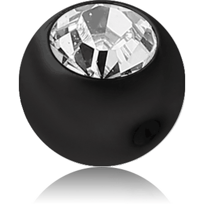 BLACK PVD COATED SURGICAL STEEL OPTIMA CRYSTAL JEWELLED BALL FOR BALL CLOSURE RING