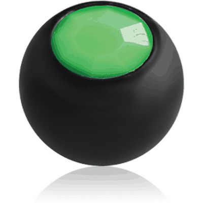 BLACK PVD COATED SURGICAL STEEL NEON ACRYLIC STONE JEWELLED BALL