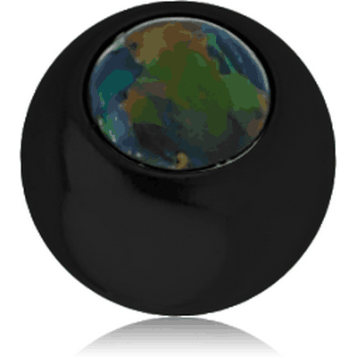 BLACK PVD COATED SURGICAL STEEL JEWELLED MICRO BALL WITH SYNTHETIC OPAL