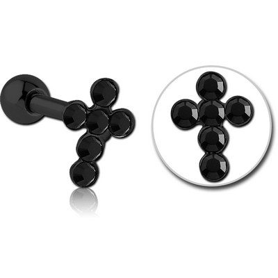 BLACK PVD COATED SURGICAL STEEL JEWELLED CROSS TRAGUS MICRO BARBELL