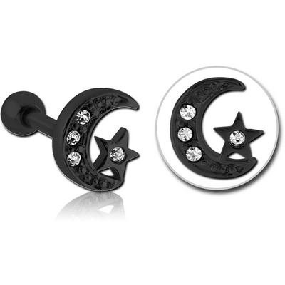 BLACK PVD COATED SURGICAL STEEL JEWELLED TRAGUS MICRO BARBELL - CRESCENT AND STAR