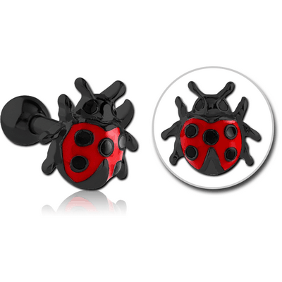 BLACK PVD COATED SURGICAL STEEL TRAGUS MICRO BARBELL WITH ENAMEL - LADYBUG
