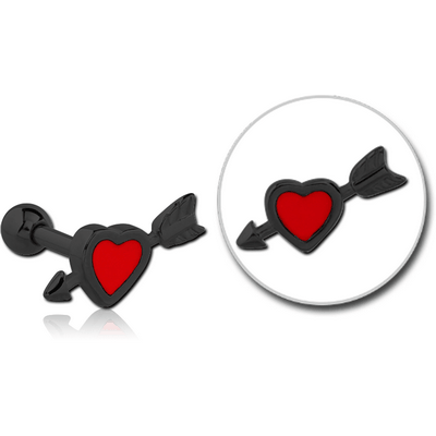 BLACK PVD COATED SURGICAL STEEL TRAGUS MICRO BARBELL WITH ENAMEL - HEART WITH ARROW