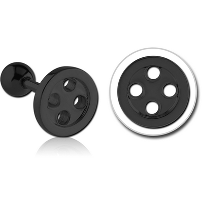 BLACK PVD COATED SURGICAL STEEL TRAGUS BARBELL - BUTTON