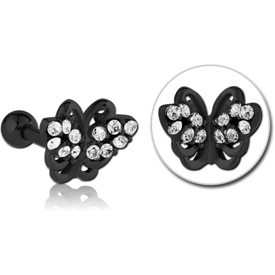 BLACK PVD COATED SURGICAL STEEL JEWELLED TRAGUS MICRO BARBELL - BUTTERFLY