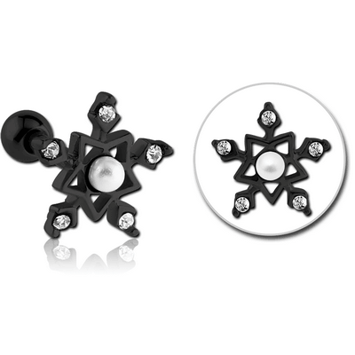 BLACK PVD COATED SURGICAL STEEL JEWELLED TRAGUS MICRO BARBELL - STAR FLAKE