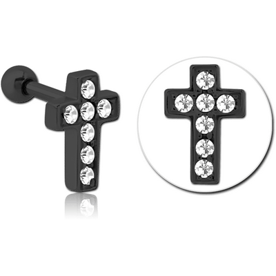 BLACK PVD COATED SURGICAL STEEL JEWELLED TRAGUS MICRO BARBELL - CROSS