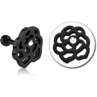 BLACK PVD COATED SURGICAL STEEL JEWELLED TRAGUS MICRO BARBELL - FLOWER