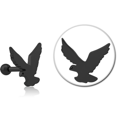BLACK PVD COATED SURGICAL STEEL TRAGUS MICRO BARBELL - EAGLE