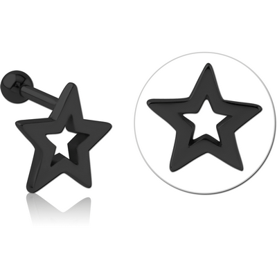 BLACK PVD COATED SURGICAL STEEL TRAGUS MICRO BARBELL - STAR