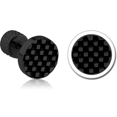 BLACK PVD COATED SURGICAL STEEL CHECKER BUTTON TRAGUS MICRO BARBELL
