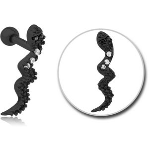 BLACK PVD COATED SURGICAL STEEL JEWELLED TRAGUS MICRO BARBELL - SNAKE