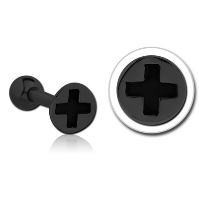 BLACK PVD COATED SURGICAL STEEL TRAGUS MICRO BARBELL - SCREW HEAD