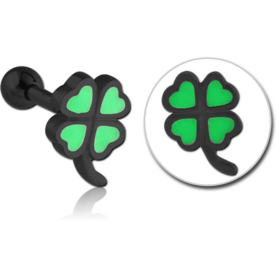 BLACK PVD COATED SURGICAL STEEL TRAGUS MICRO BARBELL WITH ENAMEL - SHAMROCK