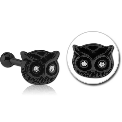 BLACK PVD COATED SURGICAL STEEL OWL JEWELLED TRAGUS MICRO BARBELL