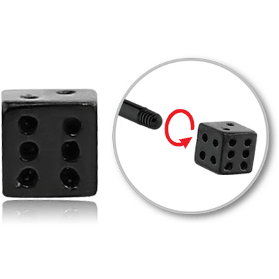 BLACK PVD COATED SURGICAL STEEL MICRO DICE