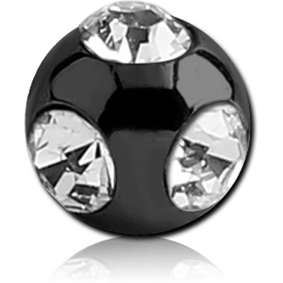 BLACK PVD COATED SURGICAL STEEL MULTI JEWELLED MICRO BALL
