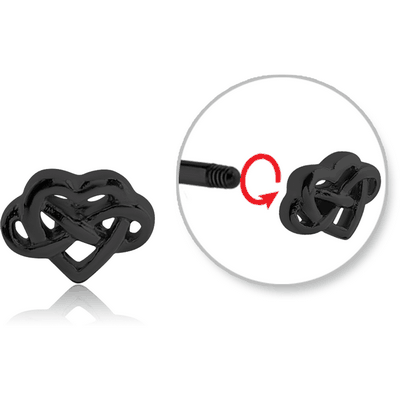 BLACK PVD COATED SURGICAL STEEL MICRO THREADED INFINITY ATTACHMENT