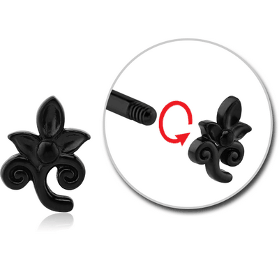 BLACK PVD COATED SURGICAL STEEL MICRO ATTACHMENT FOR 1.2MM THREADED PINS - FLOWER