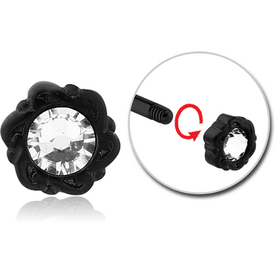 BLACK PVD COATED SURGICAL STEEL MICRO THREADED JEWELLED ATTACHMENT